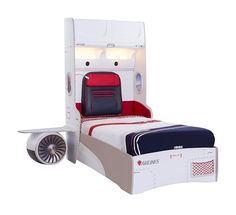 First Class Airplane Twin Storage Bed with Headboard Storage and One Airplane Motor and Wings Kids Bedroom Sets, Kids Bedroom Furniture, Bedroom Themes, Airplane Bed, Kids Car Bed, Twin Storage Bed, Cool Kids Rooms, Kid Rooms, Captains Bed