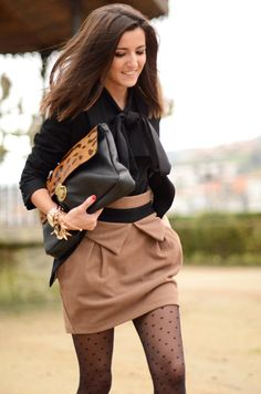 oversized clutch, skirt, pussybow top, tights