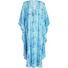 Melissa Odabash Printed Caftan ($409) via Polyvore featuring tops, tunics, teal, teal top, kaftan tunic, blue kaftan, kaftan tops and blue top