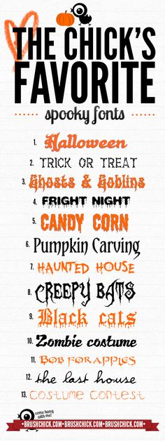 Free Font Fridays! – Spooky Edition from Brush Chick  ~~ {13 free fonts w/ easy download links}