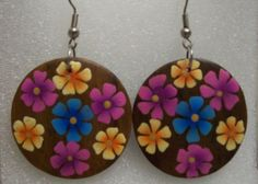 Multi Color Blossom Flowers Wooden Earrings,Jewelry,Dangle,Drop,Wood,Brown,Yellow,Pink,Blue,Gifts,Gifts for her,Gift Ideas,Women,Teens by SebaughFashionAccent on Etsy