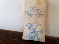 Its a Baby Boy Shower Muslin Cotton Favor Bag Handstamped set of 10 by SweetThymes, $15.00
