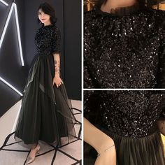Elegant Black Evening Dresses 2019 A-Line / Princess Scoop Neck Sleeves Glitter Sequins Ankle Length Ruffle Formal Dresses - Prom Dresses Design Hijab Evening Dress, Hijab Dress Party, Black Evening Dresses, Stylish Dresses For Girls, Stylish Dress Designs, Bridesmaid Skirts, Prom Dresses, Indian Cocktail Dress, Indian Wedding Gowns