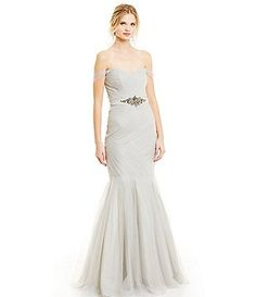 Glamour by Terani Couture Off-The-Shoulder Trumpet Gown