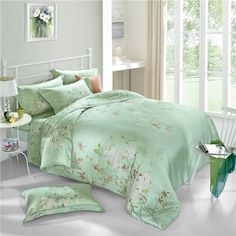 Chinese style 100% natural Tencel silk rural plant butterfly green dream 4pcs comforter/duvet cover bedding set Queen/King/3598-in Bedding Sets from Home & Garden on Aliexpress.com   Alibaba Group