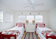 Tybee Island, GA United States - Screened Inn circa 1929   Mermaid Cottages, LLC -painted twin beds cottage bedroom