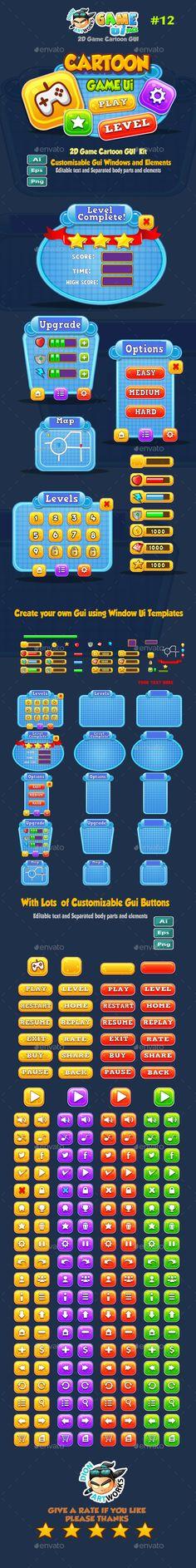 Cartoon Game UI Pack Vector EPS, Quark QXP, AI Illustrator. Download here…