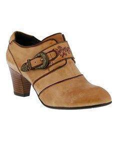 Spring Step Tan Floral Bamboo Leather Bootie   zulily