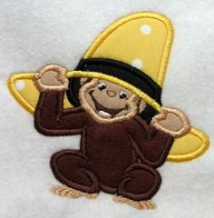 Monkey with Hat Applique Embroidery Design by CuteByKira on Etsy, $5.00
