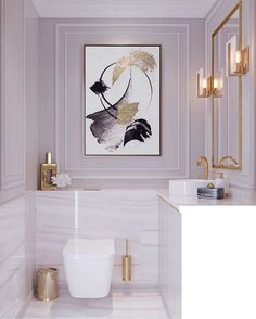 Bathroom Decor marble white marble bathroom, dysty pink walls, gold mirror, lamps, modern feminine classic with large painting on the wall Bathroom Goals, Bathroom Wall Decor, Bathroom Interior Design, Interior Decorating, Mauve Bathroom, Bathroom Flowers, Bathroom Colours, Bathroom Organization, Bathroom Storage