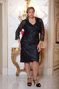 This plus size #cocktaildress is perfect for an evening out on the town. It's also really great for a Mother of the Bride dress. Look and feel sexy in this v-neck, tiered dress with jacket. http://www.sydneyscloset.com/sydneys-closet/4011/