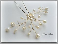 Ivory wedding hair pin Bridal hair accessories by Element4you, $20.00