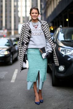 Nothing like a statement sweatshirt to remix a polished pencil skirt and coat. #NYFW #mint #acne