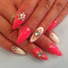 Neon pink and white nails