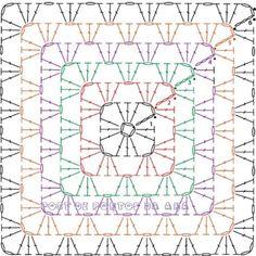 Blusa com 2 grandes quadrados (squares) de crochê - gráfico e receita