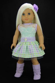 Handmade 18 inch doll clothes - Lavender and mint 2 piece spring blossom dress outfit (528) by DolliciousClothes on Etsy