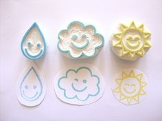 Items similar to Nice Weather Hand Carved Rubber Stamp Set - Featured on Front Page of Etsy on Etsy Book Crafts, Diy And Crafts, Paper Crafts, Stencil, Eraser Stamp, Do It Yourself Inspiration, Stamp Carving, Handmade Stamps, Stamp Printing