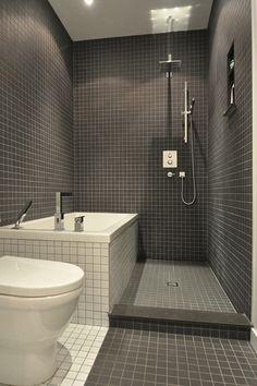 Small Modern Bathroom in Dark Tiles                                                                                                                                                                                 More