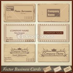 Vector old-style retro vintage business cards - both front and back side — Stock Vector #10928111