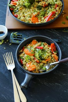 Thai Green Curry Fried Rice - Vegan, Simple, Delicious. #veganrecipes #asian #friedrice #colorful #delicious #simple #recipe