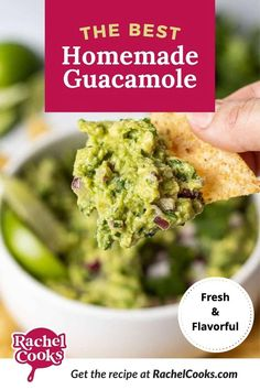 Only 6 ingredients whipped up to make the most delicious appetizer recipe. This guacamole is simple and only contains avocados, red onion, lime juice, salt, a jalapeño, and fresh cilantro. Enjoy your homemade guacamole with tortilla chips, naturally. You can also enjoy guacamole as a topping on wraps and burgers! Yum! How To Make Guacamole, Homemade Guacamole, Guacamole Recipe, Avocado Recipes, Yummy Appetizers, Appetizer Recipes, Snack Recipes, Cooking Recipes, Dip Recipes