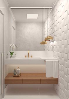 Lavabo: tips and inspirations to decorate the environment with creativity Bathroom Design Luxury, Bathroom Layout, Modern Bathroom Design, Home Interior Design, Small Bathroom, Bad Inspiration, Bathroom Inspiration, Toilet Room, Toilet Design
