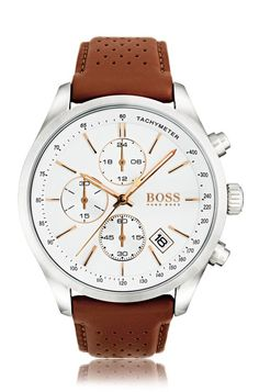 BOSS Hugo Boss Grand Prix Chronograph & Date Perforated Light Brown Leather-Strap Watch Hugo By Hugo Boss, Hugo Boss Homme, Sport Watches, Watches For Men, Men's Watches, Jewelry Watches, Men's Jewelry, Luxury Watches, Popular Watches