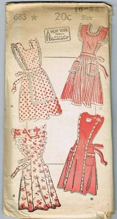 40's pattern. Cute aprons!  I would love to see one of these on my husband..LOL