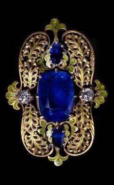 Tiffany & Co. - An Art Nouveau gold, enamel, sapphire and diamond brooch, 1900s. #LouisComfortTiffany #ArtNouveau #brooch
