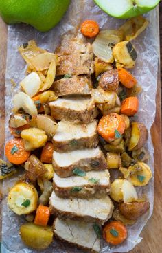 One Pan Roasted Pork Tenderloin with Apples, Sage, and Root Vegetables, so easy and delicious!