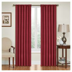 """Kendall Thermaback Blackout Curtain Panel Red (42""""x63"""") - Eclipse"""
