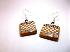 Chess Game Board Mini Replica Polymer Clay Earrings Handmade Custom, Silver Toned Drop Hook Dangle Earrings with Black & White Glass Beads - $4.50 @Etsy https://www.etsy.com/listing/166869105/chess-game-board-mini-replica-polymer? www.trinityclay.etsy.com