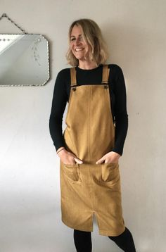 Sally's Cleo dungaree dress - sewing pattern by Tilly and the Buttons Diy Clothing, Sewing Clothes, Dress Sewing, Sewing Patterns Free, Clothing Patterns, Dungaree Dress, Jumper Dress, Dungarees, Overalls