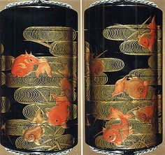 Case (Inrô) with Design of Goldfish and Reed with Wave Pattern  Period: Edo period (1615–1868) Date: 18th–19th century Culture: Japan Medium: Lacquer, roiro, red and gold hiramakie; Interior: nashiji and fundame
