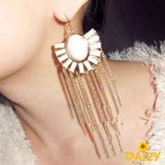 Egyptian Style Fan Shape Statement Long Dangle Earrings - Available in Black and White