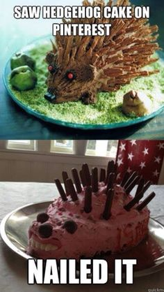 Bahaha idk why anyone would ever make a hedgehog cake lol but this is hilarious Pinterest Fails, Pinterest Recipes, Pinterest Food, Pinterest Projects, Pinterest Funny, Pinterest Photos, Baking Fails, Hedgehog Cake, Funny Hedgehog