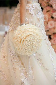 White and Gold Wedding Glamelia, Composite Petal Bouquet.
