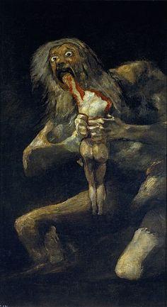 """""""검은그림""""중""""아들을 잡아 먹는 사투르누스"""" [Saturn devouring his son, Black paintings], Francisco Goya,1819~1823.// 농경의 신 사투르누스가 자신의 아들 중 한 명에게 왕좌를 빼앗길 것이라는 예언을 듣고 아들을 차례로 잡아먹는 모습이다. 이 작품은 신화를 출발점으로 삼지만, 더 나아가 인간성의 타락, 전쟁의 폭력성, 젊은 세대와 기성 세대 간의 갈등, 모든 것을 삼켜버리는 시간으로 사투르누스를 상징하는 바가 크다.    이 그림은 감상자를 괴롭게 만든다. 감히 사투르누스의 눈을 오래 바라보는 것도 어렵다. 자기가 살겠다고 아들을 잡아 먹는 그의 눈에는 공포가 서려있다. 공포의 중심에 삶에 대한 집착이 자리잡아 보인다. 고야도 세상과 단절한 채 병마와 싸우고 있었던 당시, 자신의 죽음에 대한 공포를 느꼈을 것이다. 초연하지 못하고 삶에 집착하는 자기의 모습을 추악하다고 느껴서 이런 그림을 그린 것 아닐까?"""