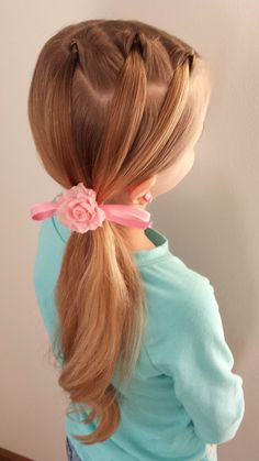 Here is a sweet triple flip ponytail. LOVE