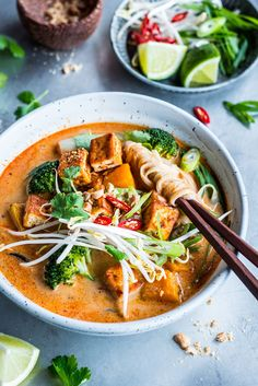 Crispy Tofu & Pumpkin Laksa. A fragrant vegetarian red curry and coconut laksa with crispy tofu, pumpkin and greens.