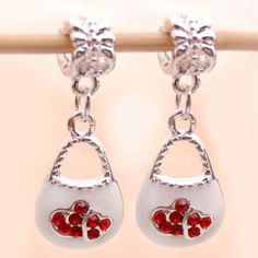 Bleek2Sheek Silvertone White Enamel/ Red Rhinestone Purse Charms (Set of 2)
