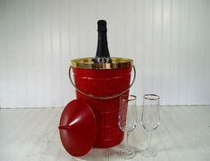 Retro Atomic Red & Gold Trim Champagne Ice Bucket  by DivineOrders, $61.00