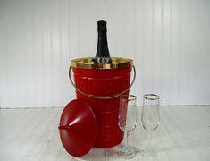 Retro Atomic Red & Gold Trim Champagne Ice Bucket - Vintage LustraWare Design BarWare Bin - Cocktail Generation Entertaining Mid Century Box $41.00 by DivineOrders
