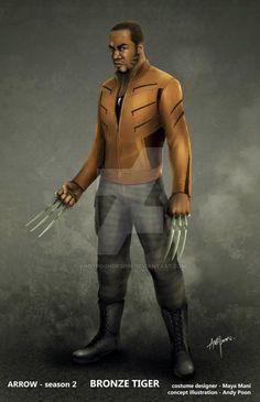 CW Arrow Bronze Tiger costume design illustration by AndyPoonDesign on DeviantArt