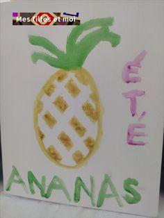 Peinture de l'été: ananas, activités manuelles de l'été sur le blog, activités manuelles
