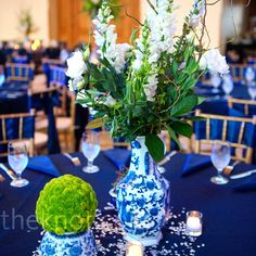Unique patters and vases for your centerpieces will be great for the color that you would like to be the statement for your wedding reception.
