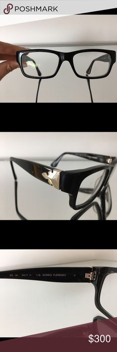 Auth Chrome Hearts  'The Works Flerknee' frames Slightly used frames with prescription lenses. You would have to change to different lenses to fit your needs. The chrome hearts design on frame edges is real silver. Paid $700+ for these frames from an eye glass retailer. Very rare and hard to find in the US. Chrome Hearts is a popular Japanese brand. No original box or casing available but will package with alternative to ship. Guaranteed authentic. Chrome Hearts Accessories Glasses