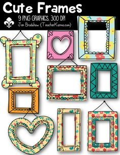 Cute Digital Frames.  Includes swirls, flowers, polka dots, and sold borders.  You will love the hanging frames for your classroom teaching products.  CU OK.