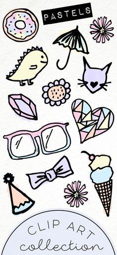 Hand Drawn Clip Art / PNG files / Cute Pastel Doodles / Digital Download / Watercolor / Kawaii / Donut / Dinosaur / Ice Cream / Gemstone