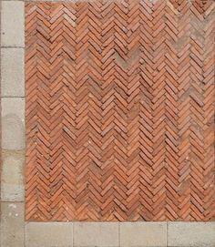 Medieval Pavement: Red bricks pavement with frame. lughertexture.com